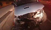 Bakkie crashes into barrier leaving driver critical, Hatfield