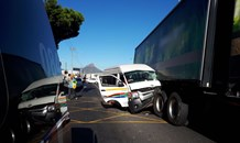 Taxi crashes into truck leaving eight injured at intersection in Maitlands in the Western Cape.
