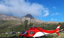 A hiker was airlifted by AMS to Vincent Palotti Hospital, after falling and sustaining serious injuries