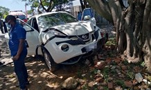 Vehicle crashed into a tree in Mount Edgecombe in KZN