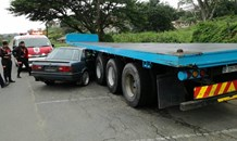 Driver doing wheel spins crashes into trailer in Verulam