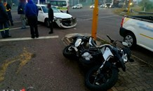Biker injured in a collision at an intersection in Durban