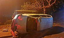 Fortunate escape from injury in a vehicle rollover on Montclair