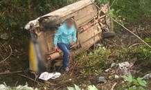 A vehicle left the roadway and overturned, leaving one person on the M7