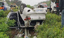 Vehicle rollover on the R102 between the Verulam & Ottawa intersection during heavy rains