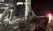 Fortunate escape from injury after two trucks collide near Harrismith