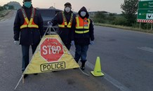 Police enforcing the law in terms of the #COVID19 #21DaysLockdown Regulations