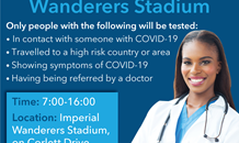 The Imperial Wanderers Stadium is now offering a drive-through testing station for the COVID-19 virus.