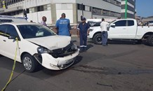 Two people injured when two vehicles collided at the intersection of Blake Road and Sydney Road, Umbilo