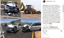 Narrow escape for well-known Pastor and his family in road crash after excavator reportedly made U-turn