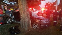 Two critical, two sustain moderate injuries after car crashes into tree