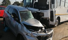 Bus and car collide leaving three injured in Mnandi
