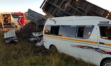 Taxi and truck collide leaving two dead, eleven injured on the N12 westbound outside of Delmas.