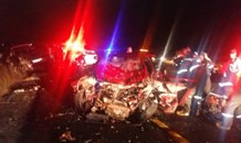 One woman killed and four others injured  when a bakkie and light motor vehicle collided head-on, Brits