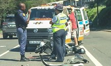 Motorbike crash at the intersection of Rinaldo and Moreland Roads in Umhlanga.