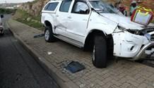 Gauteng: bakkie driver rolls vehicle at intersection In Krugersdorp