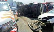 Jaws of Life were required to free a passenger from a taxi crash on Randfontein Road wherein 16 people were injured