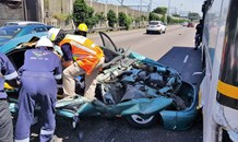 A Driver entrapped in wreckage on the M4 South Bound near Congella