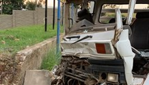 Two injured as truck collides with wall near Krugersdorp