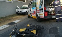 Motorcyclist injured in crash with bakkie on Chester road in Bryanston, Sandton.