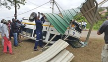 Seven njured in overturned taxi accident in Waterloo