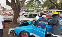 Man entrapped after crash outside 619 Musgrave Road, Durban