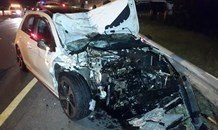 Five injured when car rear-ended bakkie at high speed at Midrand