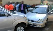 Collision into vehicle transporting school children in Bramley