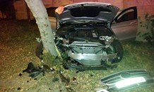 Collision into tree on Harry Galuan Drive, in Midrand