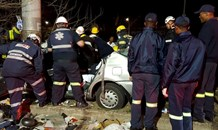 Car crashed into pole on the M1 North at the Atholl Oaklands offramp in Melrose