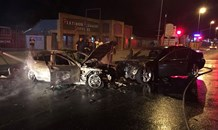 Cars on fire after collision at intersection in Boksburg