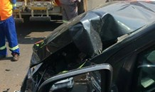 Fortunate escape from injury in collision with garbage truck in Northworld