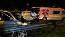 1 person injured after SUV rear-ended a slow moving truck, R24 East, JHB
