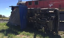 Bloemfontein truck driver luckily escapes after collision with train