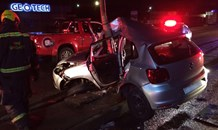 Car crashes into pole injuring driver, Potchefstroom.