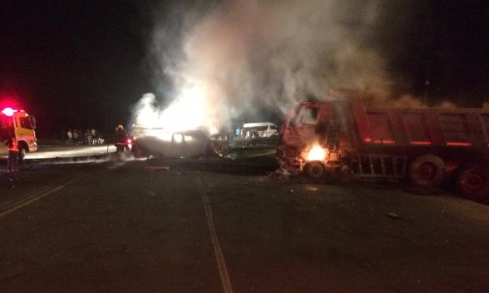 Four people were burnt to death following a collision between a bakkie and lorry outside Eston, South of Camperdown