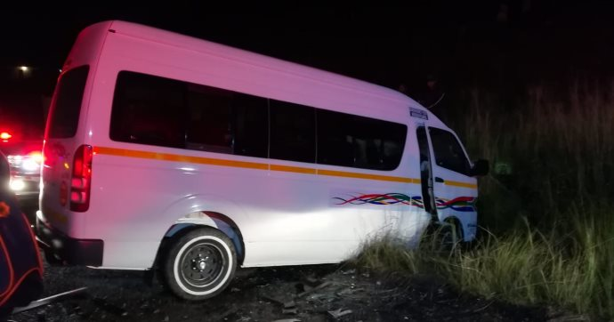 Nine people were injured when two taxis crashed into each other