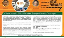 Official launch of 2016 October Transport Month Campaign