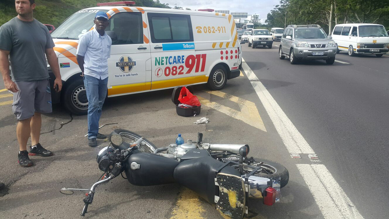 N2 south motorcycle crash leaves man seriously injured