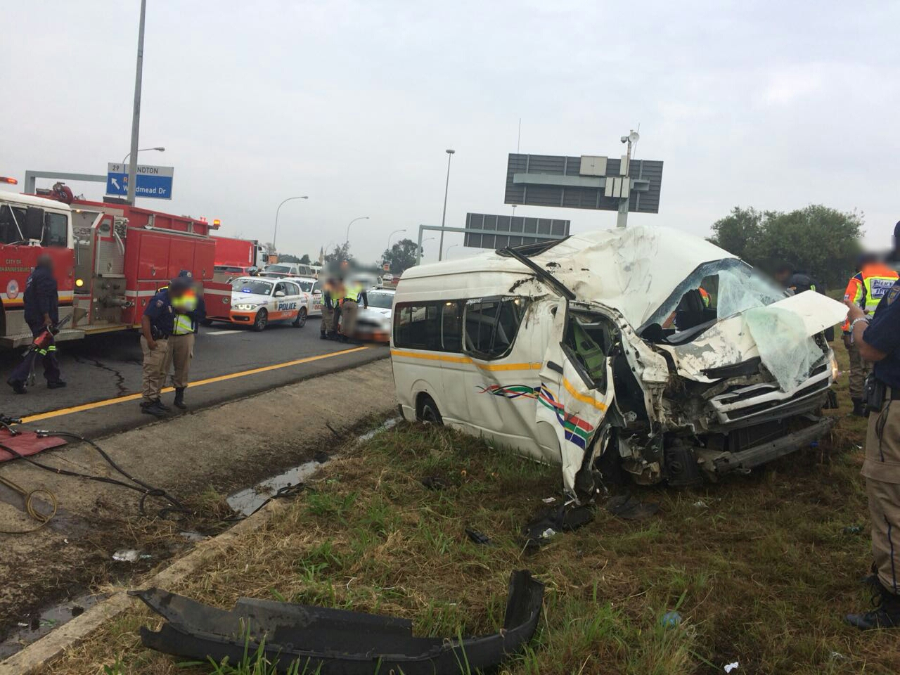 One person killed and fifteen others injured in a single vehicle