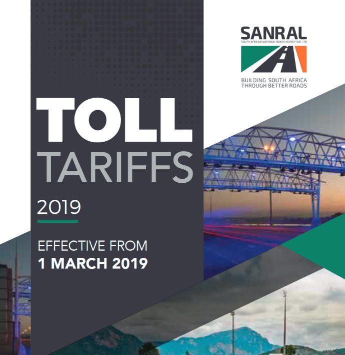 Toll tariff increase effective 12 April 2018