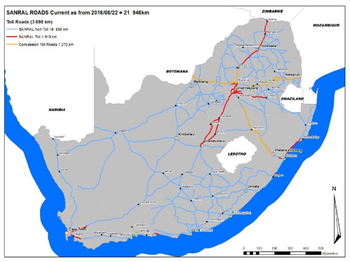 SANRAL Roads Current as From 22-06-2016 = 21 946km