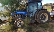 Tractor crashes into tree injuring one, Somerset West.