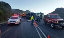 Driver injured as after truck overturned on Outeniqua Pass near George