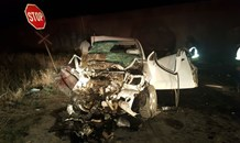 Two injured after car and train collide, Douglas.