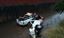 Vehicle overturns and falls into storm drain in KZN