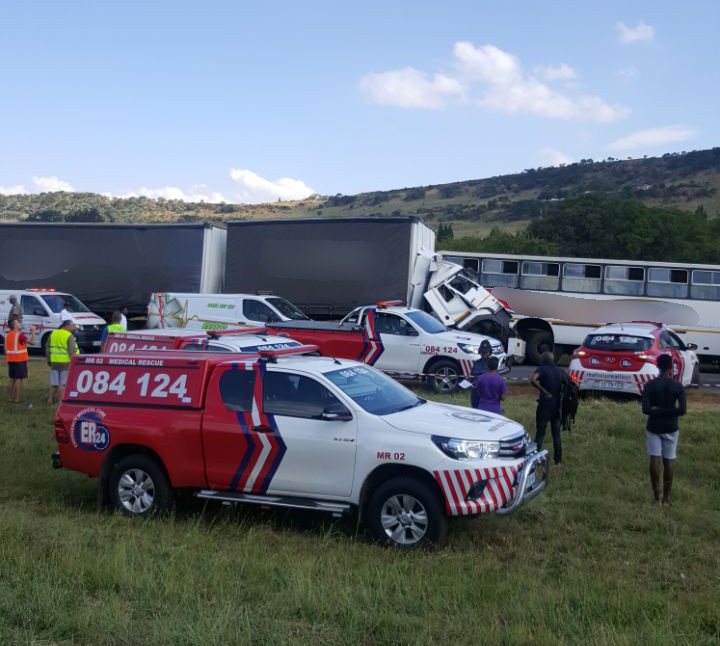 At least 100 injured after truck and school bus collide on the N12 in Westonaria weston
