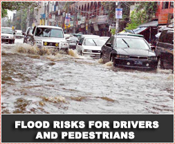Road Safety and Flood Risks for Drivers and Pedestrians